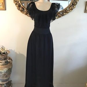 Vintage Black lingerie Slip Dress